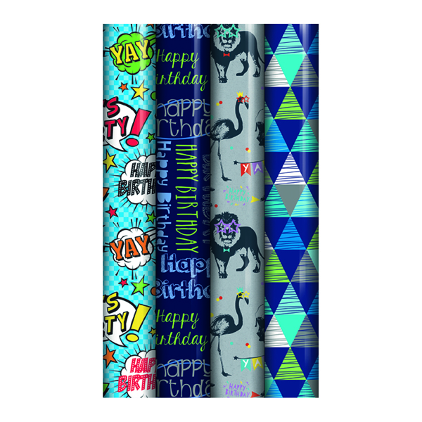 Assorted Blue Happy Birthday Gift Wrap (39 Pack) 24585-GW