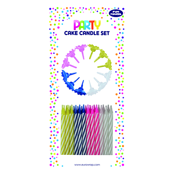 Cake Candle Set Multicolour (6 Pack) 6846-CC-OBB