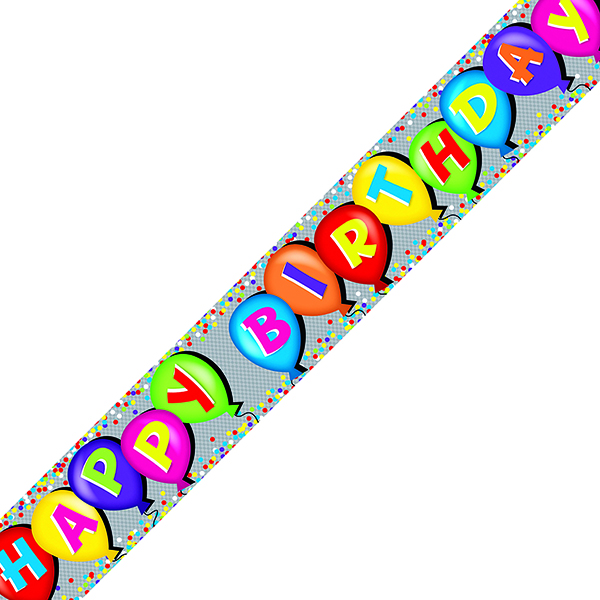 Holographic Happy Birthday Balloon Banner (6 Pack) 6837-HBH-4