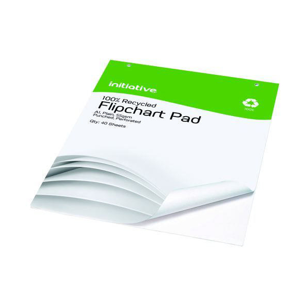 Initiative Punched Perforated Flipchart Pad A1 55gsm White 40 Sheets