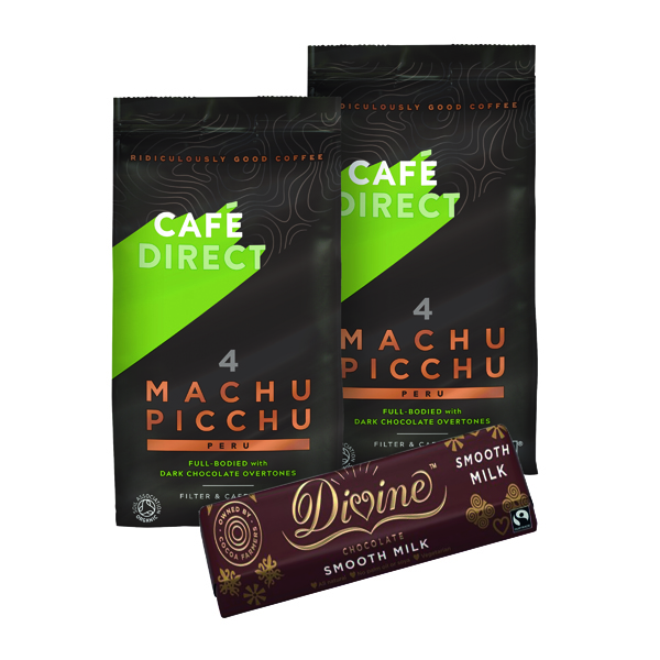Cafedirect Organic Ground Machu Picchu Coffee 227g (2 Pack) FOC Divine Chocolate Bar GAL838127