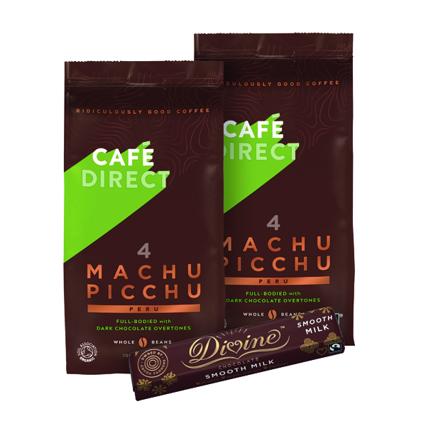 Cafedirect Machu Picchu Whole Coffee Beans 227g (2 Pack) FOC Divine Chocolate Bar (Pack of 30) GAL838128