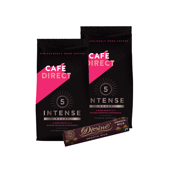 Cafedirect Intense Roast Ground Coffee 227g (2 Pack) FOC Divine Chocolate Bar GAL838129