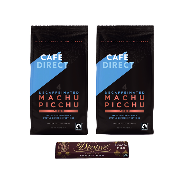 Cafedirect Fairtrade Organic  Decaf Coffee 227g (2 Pack) FOC Divine Chocolate Bar GAL838130