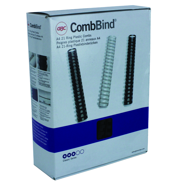 GBC Black CombBind 16mm Binding Combs (100 Pack) 4028600