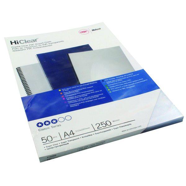 GBC HiClear PVC 250 Micron A4 Super Clear Binding Covers (50 Pack) 41606U
