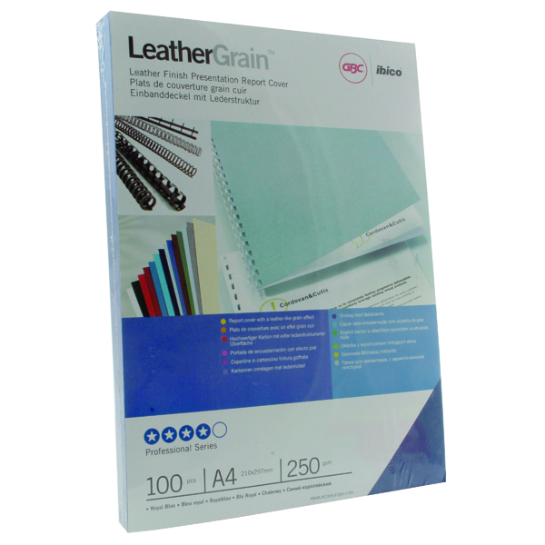 GBC LeatherGrain 250gsm A4 Royal Blue Binding Covers (100 Pack) CE040029U