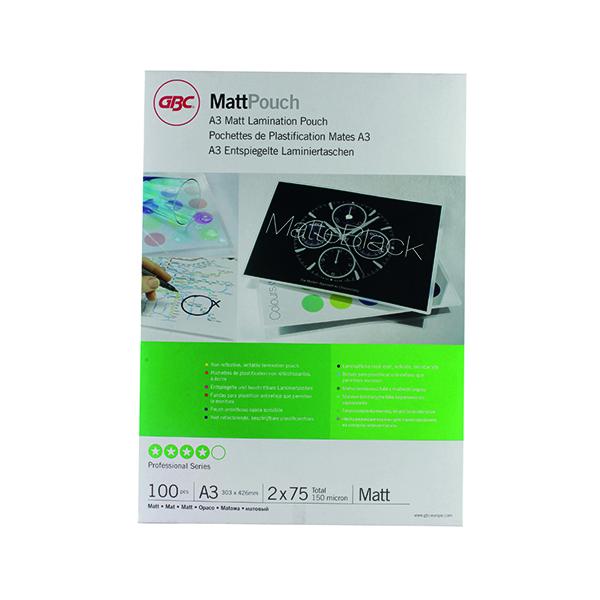 GBC A3 Matt Laminating Pouch 150 Micron (100 Pack) 41660E