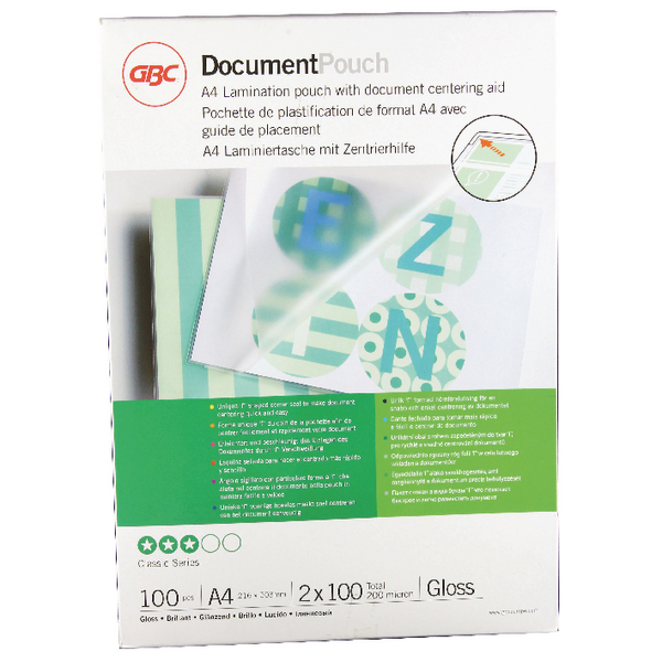GBC Document Laminating Pouches A4 2 x 100 Micron Gloss (100 Pack) 3740306