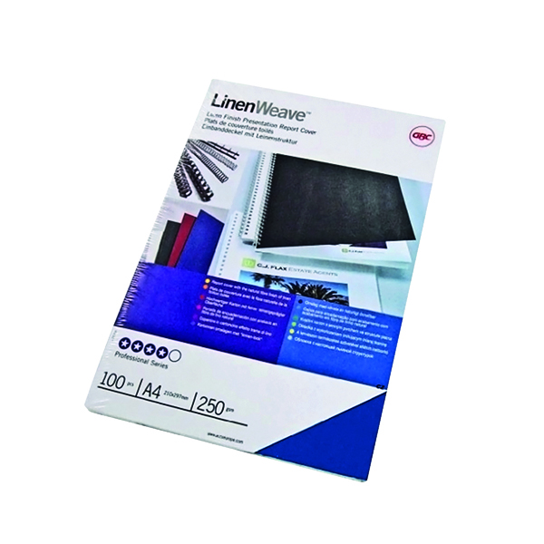 GBC LinenWeave Binding Covers 250gsm A4 Royal Blue (100 Pack) CE050010