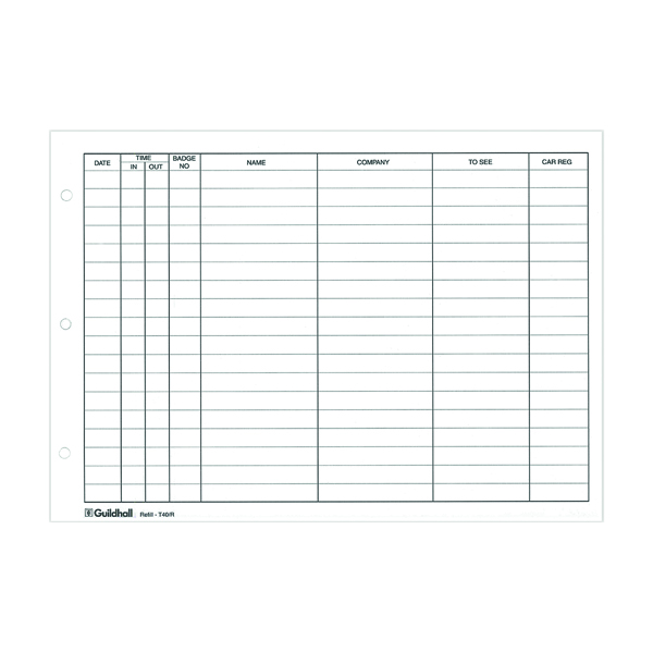 Exacompta Guildhall Loose-Leaf Visitors Book Refill (50 Pack) T40/R