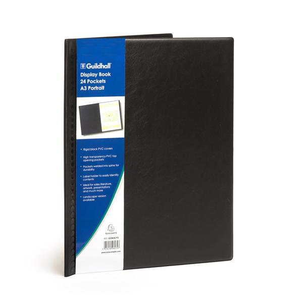 Guildhall Black Display Book 24 Pockets A3 Portrait Gdb24 P