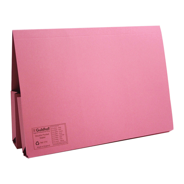 Guildhall Pink Double Pocket Legal Wallet Foolscap (25 Pack) 214-PNK