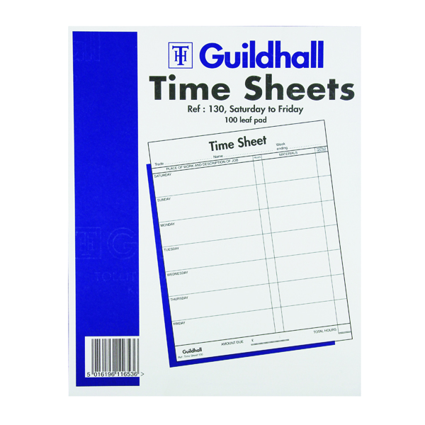 Guildhall Work Time Sheet Saturday - Friday 254 x 203mm (100 Pack) 1653