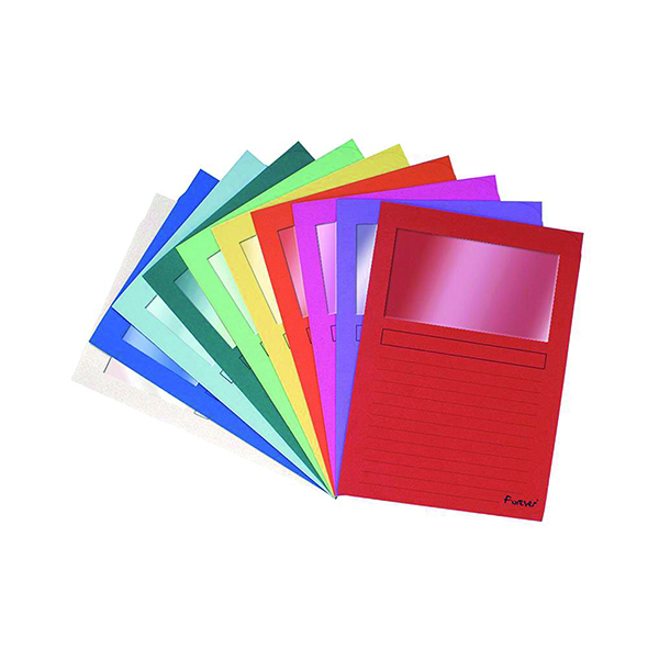 Exacompta Bright Forever Window Files A4 Assorted (100 Pack) 50100E