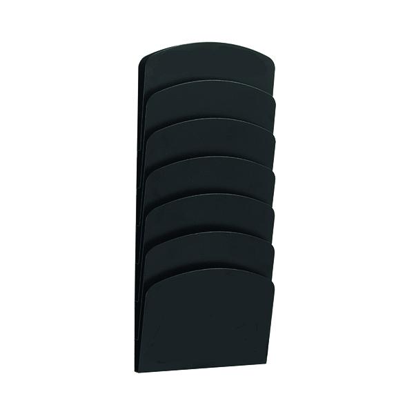 Safco 7 Pocket Wall Rack Black Steel 3185BL