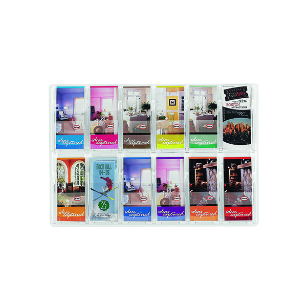 Safco 12 Pocket Deluxe Pamphlet Literature Rack 5604CL
