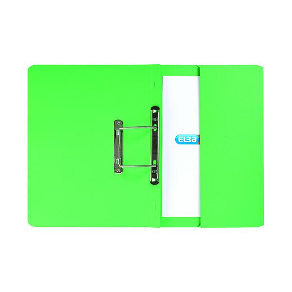Elba Stratford Spring Pocket File 320gsm Foolscap Green (25 Pack) 100090147