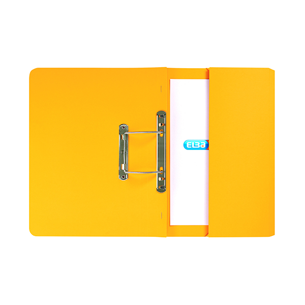 Elba Stratford Spring Pocket File 320gsm Foolscap Yellow (25 Pack) 100090150