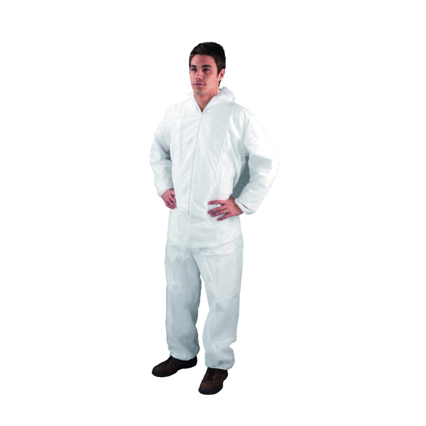Medium White Non-Woven Coverall DC03