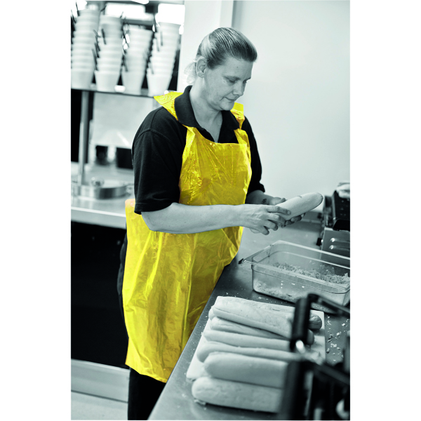 Apron on a Roll LDPE Polythene Yellow (1000 Pack) A2Y/R
