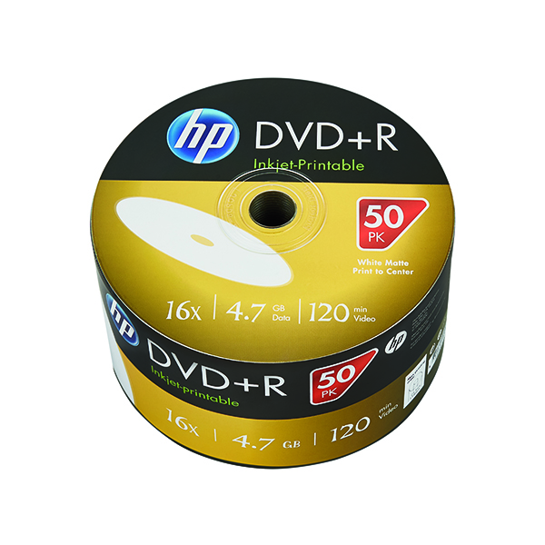 HP DVD-R Inkjet Print 16X 4.7GB Wrap (50 Pack) 69302