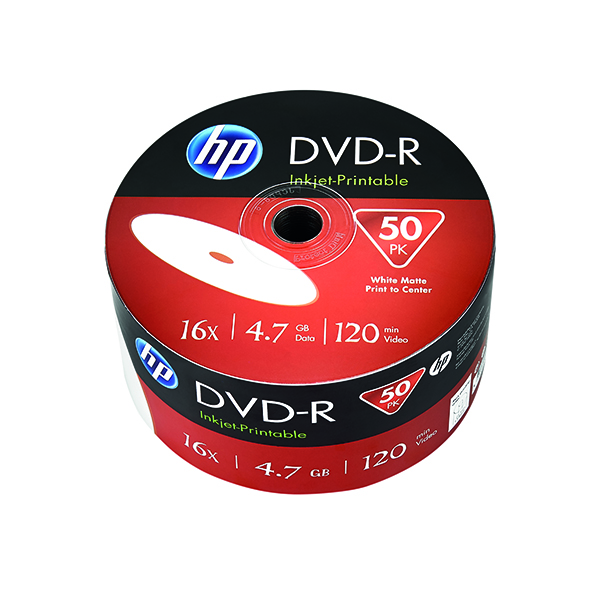 HP DVD+R Inkjet Print 16X 4.7GB Wrap (50 Pack) 69304