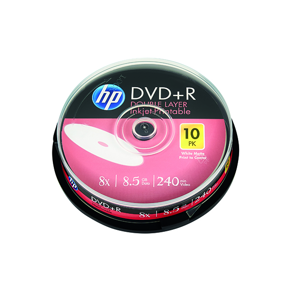 HP DVD+R DL Inkjet Print 8X 8.5GB Spindle (10 Pack) 69306
