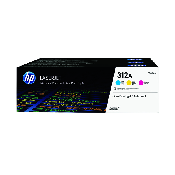 HP 312A Cyan/Yellow/Magenta LaserJet Toner Cartridge (3 Pack) CF440AM