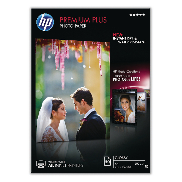 HP White A4 Premium Plus Glossy Photo Paper 300gsm (50 Pack) CR674A