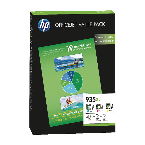 HP 935XL Cyan/Magenta/Yellow Original Ink Cartridge And Paper (75 Pack) F6U78AE