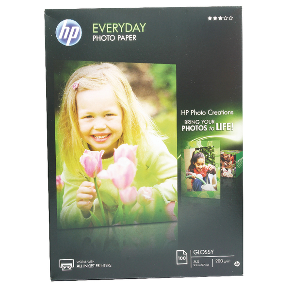 HP White A4 Everyday Glossy Photo Paper 200gsm (100 Pack) Q2510A