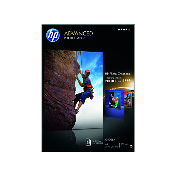 HP White A4 Advanced Glossy Photo Paper 250gsm (25 Pack) Q5456A