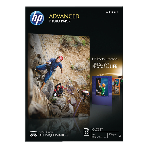 HP White A4 Advanced Glossy Photo Paper 250gsm (50 Pack) Q8698A