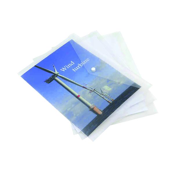 Rapesco ECO Popper Wallet A4 Plus Clear (5 Pack) 1040