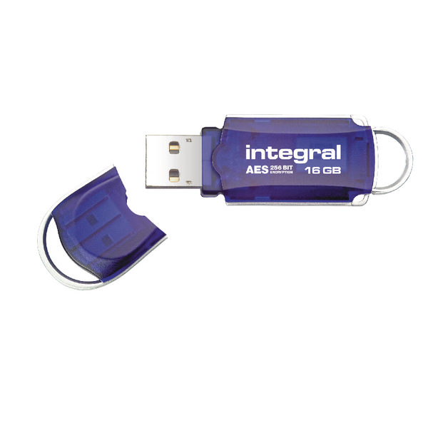 Integral Courier FIPS 197 Encrypted USB Flash Drive 16GB Blue INFD16GBCOUAT