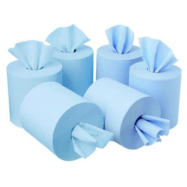 Initiative Centrefeed Roll 150m Blue Two-Ply 400mm x 180mm Sheets (6 Pack)