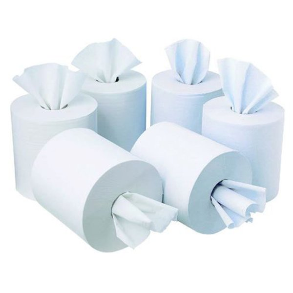 Initiative Centrefeed Roll 150m White Two-Ply 400mm x 180mm sheets Pack 6