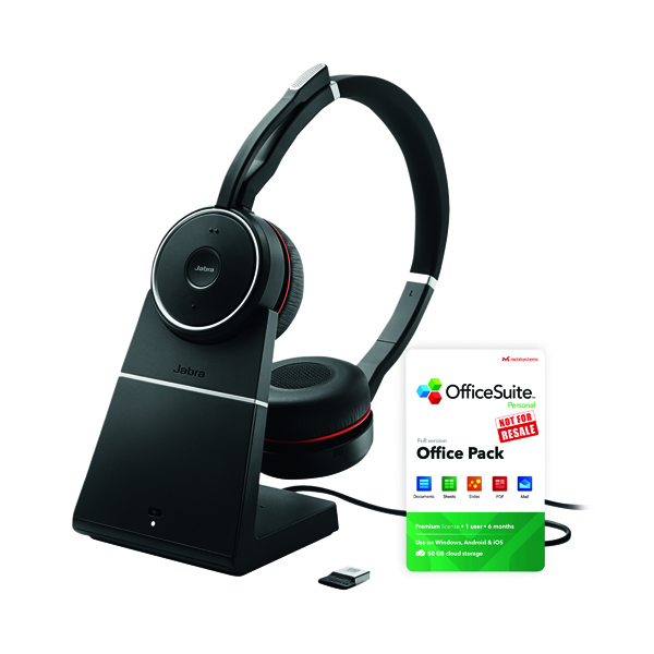 Jabra Evolve 75 UC Headset With Stand FOC 6 Month Officesuite Licence