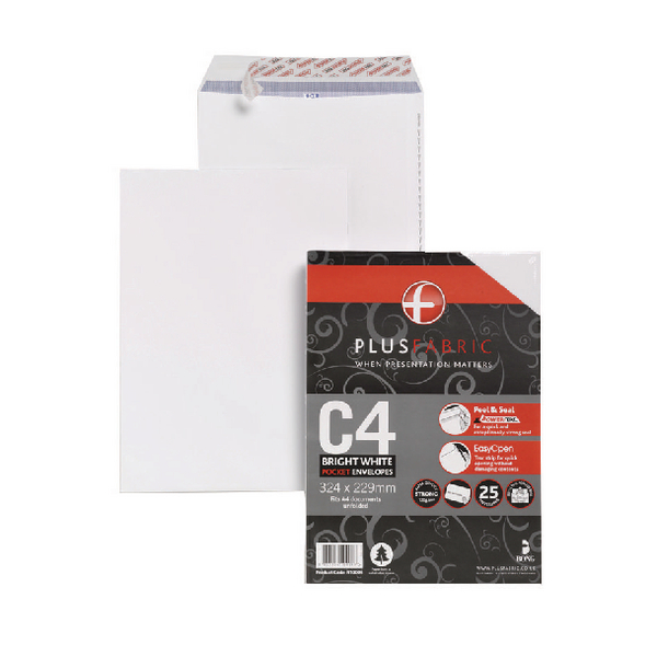 Plus Fabric Envelope 120gsm Peel and Seal C4 White (25 Pack) R10006
