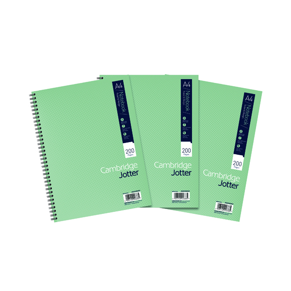 Cambridge Ruled Margin Wirebound Jotter Notebook 200 Pages A4 (3 Pack) 400039062