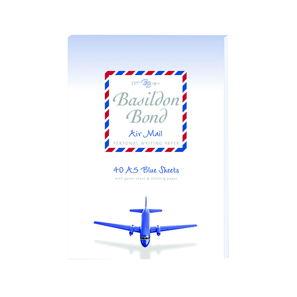 Basildon Bond Blue Airmail Writing Pad 148 x 210mm (10 Pack) 100104698