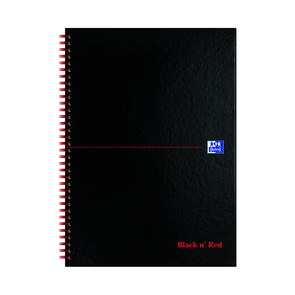 Black n' Red Ruled Perforated Wirebound Hardback Notebook A4 (5 Pack) 100102248