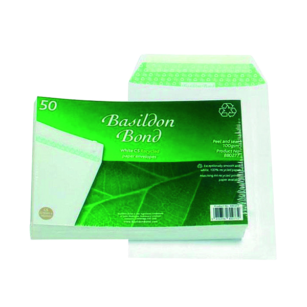 Basildon Bond C5 Envelopes Pocket Peel and Seal 120gsm White (50 Pack) B80277