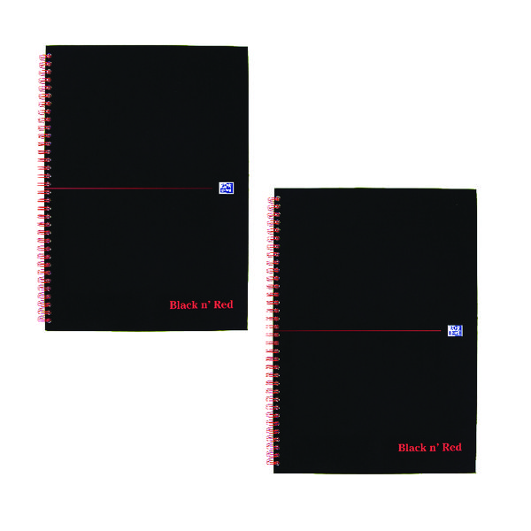 Black n Red Wirebound Notebook A4 (5 Pack x 2) JD814014