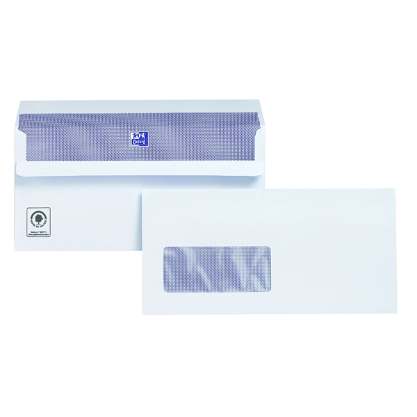 Plus Fabric DL Envelopes Window Wallet Self Seal 120gsm White (500 Pack) C22570