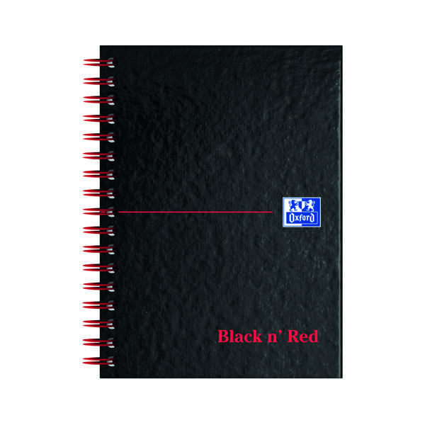 Black n' Red Ruled Perforated Wirebound Hardback Notebook A6 (5 Pack) 100080448