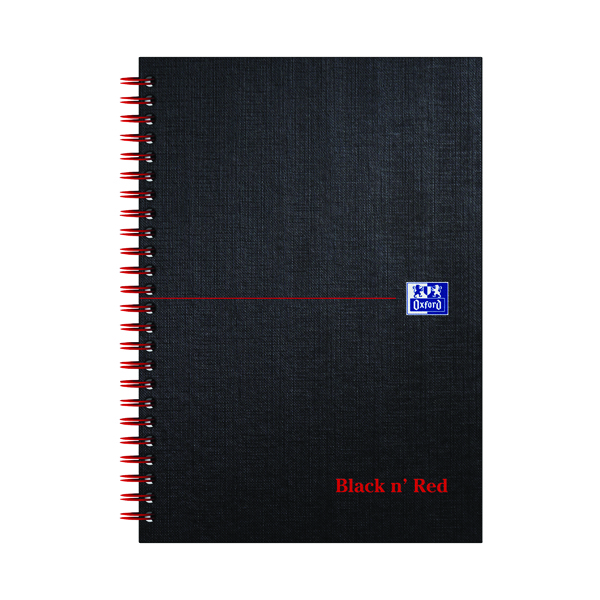 Black n' Red Ruled Wirebound Hardback Notebook 140 Pages A5 (5 Pack) 846354906