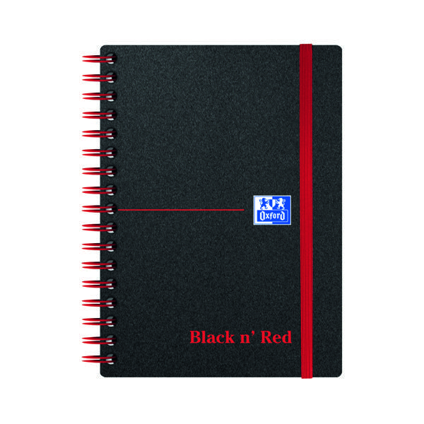 Black n' Red Ruled Polypropylene Wirebound Notebook 140 Pages A6 (5 Pack) 100080476