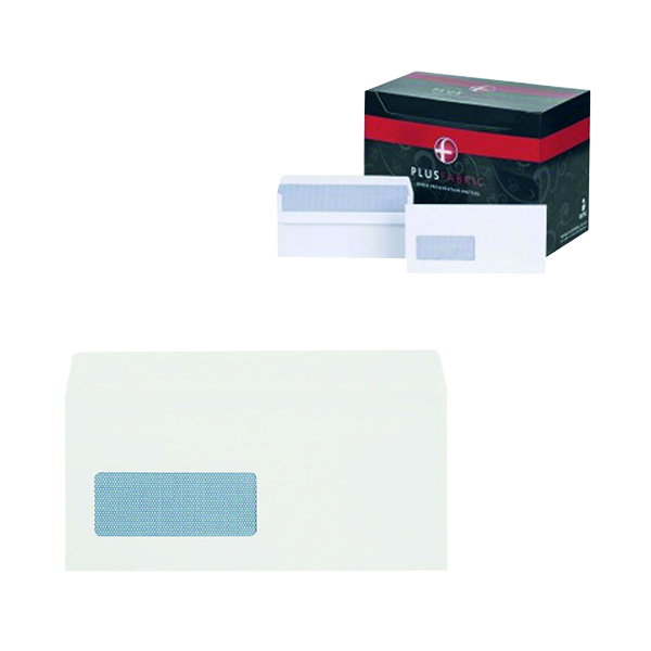 Plus Fabric DL Window Envelope 110gsm Wallet Self Seal White (500 Pack) J22370